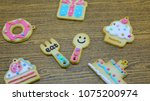 cookies pattern set on... | Shutterstock . vector #1075200974