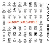 laundry care symbols. cleaning... | Shutterstock .eps vector #1075204343