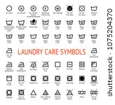 laundry care symbols. cleaning... | Shutterstock .eps vector #1075204370