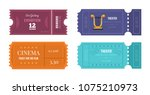 set of tickets on various... | Shutterstock .eps vector #1075210973