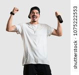 young rapper man happy and fun  ...   Shutterstock . vector #1075222553