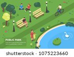 public park concept banner with ... | Shutterstock .eps vector #1075223660