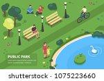 public park concept banner with ... | Shutterstock .eps vector #1075223660