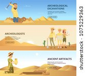 archaeologists conduct... | Shutterstock .eps vector #1075229363