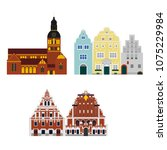 flat building of latvia country ... | Shutterstock .eps vector #1075229984