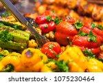 vibrant barbecue healthy... | Shutterstock . vector #1075230464