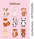 cute set animals characters | Shutterstock .eps vector #1075232696