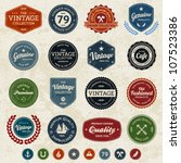 Set of retro vintage badges and labels with texture