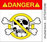 vector skull danger sign   Shutterstock .eps vector #1075245248