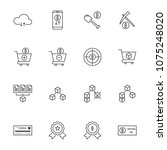 line icon set cryptocurrency... | Shutterstock .eps vector #1075248020