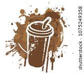vector banner on coffee theme... | Shutterstock .eps vector #1075249358
