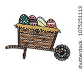 doodle eggs easter decoration... | Shutterstock .eps vector #1075251113