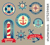 set of vintage retro nautical... | Shutterstock .eps vector #1075254464