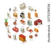 domestic furniture icons set.... | Shutterstock .eps vector #1075258556