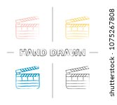 clapperboard hand drawn icons... | Shutterstock .eps vector #1075267808
