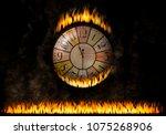 watch clock fiery. the elapsed... | Shutterstock . vector #1075268906