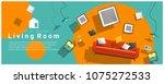 horizontal interior banner sale ... | Shutterstock .eps vector #1075272533