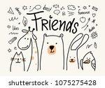 five animals friends vector... | Shutterstock .eps vector #1075275428