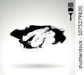 black brush stroke and texture. ... | Shutterstock .eps vector #1075279820
