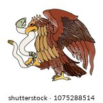 eagle devouring snake mexican... | Shutterstock .eps vector #1075288514