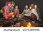young hippie friends having fun ... | Shutterstock . vector #1075289990