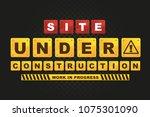 site under construction work in ... | Shutterstock .eps vector #1075301090