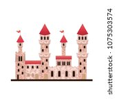medieval castle with flags | Shutterstock .eps vector #1075303574