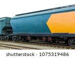 grain hoppers on the railway... | Shutterstock . vector #1075319486