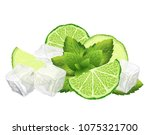 sliced lime  mint leaves and... | Shutterstock .eps vector #1075321700