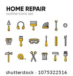 icon set of working tools for...   Shutterstock .eps vector #1075322516