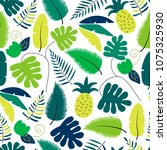 vector summer tropical pattern... | Shutterstock .eps vector #1075325930