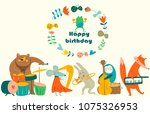 birthday card with cute animals ... | Shutterstock .eps vector #1075326953