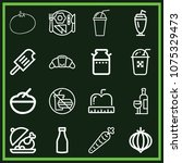 set of 16 food outline icons... | Shutterstock .eps vector #1075329473