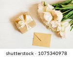 feminine composition with white ... | Shutterstock . vector #1075340978