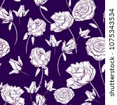 fabric textile  flowers pattern ... | Shutterstock .eps vector #1075343534