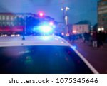 flashing lights of a police car ...   Shutterstock . vector #1075345646