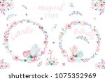 Stock photo watercolor boho floral wreath bohemian natural frame leaves feathers flowers isolated on white 1075352969