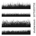 vector set of black grass... | Shutterstock .eps vector #1075355753