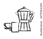 grunge coffee maker object with ... | Shutterstock .eps vector #1075361234