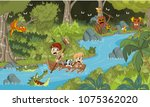 wild forest with cartoon... | Shutterstock .eps vector #1075362020