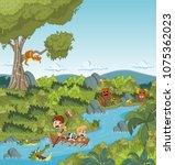 wild forest with cartoon... | Shutterstock .eps vector #1075362023