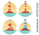 lighthouse tower.concept of... | Shutterstock .eps vector #1075371410