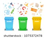 recycling garbage icons ... | Shutterstock .eps vector #1075372478