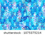 blue trendy tropical foliage... | Shutterstock . vector #1075375214