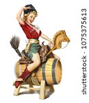 Pin-up style illustration. Cossack girl on a wooden barrel with a toy horse. Blonde in a cap and shirt, bandolier, holster, and red boots. Russian holiday February 23 defender of the Fatherland Day