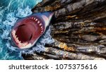 white shark with an open mouth... | Shutterstock . vector #1075375616