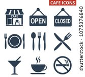 cafe icons set on white... | Shutterstock .eps vector #1075376840