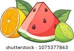 cartoon tropical fruits. vector ... | Shutterstock .eps vector #1075377863
