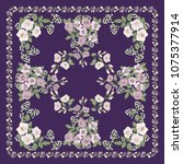 scarf floral print. russian...   Shutterstock .eps vector #1075377914