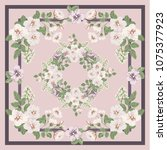 scarf floral print. russian... | Shutterstock .eps vector #1075377923